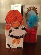 Vintage Hallmark Birthday Greeting Card Niece Die Cut Girl Dusting Used