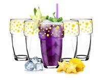 6 Stapelbare Trinkgläser 300ml Kaffeegläser Saftgläser Wasserglas Gelb gepunktet