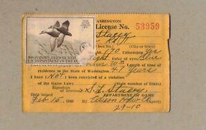 US Federal Duck Hunting Stamp $1 - Black Ducks RW7 1940 WASHINGTON LICENSE USED