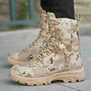 Mens High Top Camouflage Mid Calf Boots Lace-up Outdoor Outdoor Warm Shoes