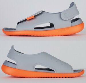Nike sunray adjust 5 boys sandals Wolf Grey Total Orange AJ9076 003