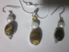"Tiger Eye, Pearl & Citrine Silver Pendant w/20"" Chain Necklace & Earring Set"
