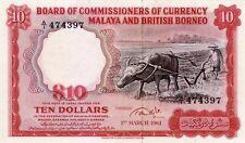 Malaya & British Borneo 10 Dollars 1961 P9 Reproduction