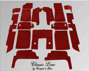 Dark red velours carpet kit for Jaguar XJ6 & XJ12 Serie 2 and 3 Four Door Saloon