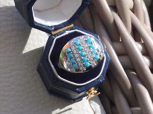 Platinum on 925 Hallmarked Silver Sleeping Beauty Turquoise Zircon Ring. O & Q.