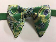 Handmade Green Paisley Bow tie Vintage style 70`s Bowtie Pre-tied Adjustable