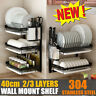 New 2/3 Tier Wall Dish Drying Rack Organizer Home Kitchen Cutlery Shelf Drainer
