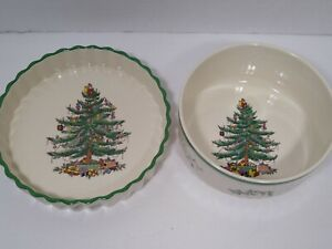 Spode Christmas Tree Imperial Cookware Quiche Ramekin Stone China Bowl Vintage