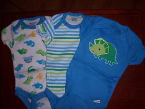 Boy's 3 New Gerber Onesies, Baby Shower, Newborn