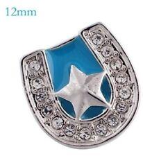Silver Blue Horse Shoe Star 12mm Mini Charm For Ginger Snaps Magnolia Vine