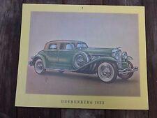 Modelo de impresión Vintage Duesenberg 1933 del coche perfecto para Pub Tienda Garaje Cobertizo