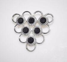 Vintage Sarah Coventry Black Rhinestone Silver Tone FiligreeTriangle Pin Brooch