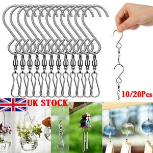 10Pcs Hanging Stainless Steel Swivel Hooks Clips For Garden Wind Spinner Catcher