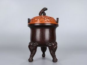 Chinese Antique Incenser Carving in Zitan Wood Knob in Woodbox H22.3*12.6cm 597g