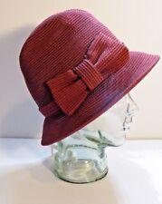 MAKINS New York Burgundy Straw Panama Fedora Trilby Hat Woman's Sz Small