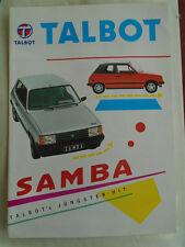 Talbot Samba range brochure 1980's German text