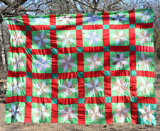 "QUILT TOP 8 point star   100% COTTON. APPROX 70"" x 86""  red green UNFINISHED"