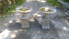 Two victorian style urns on plinths  antique finish  (Garden planter ornament)