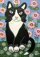 Original Painting Black & White Cat, Folk/Naive Art  In Daisies, Garden, Tuxedo