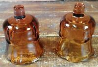Votive Cups Set 2 Homco Home Interior Amber Brown Glass 3.5 Inch Candle Holders