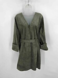 BCBGMAXAZRIA Womens Belted Dress Olive Green V Neck Stretch Long Sleeve Cuffs M