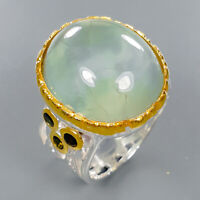 Natural Prehnite Ring Silver 925 Sterling Handmade23ct+ Size 7.5 /R132928