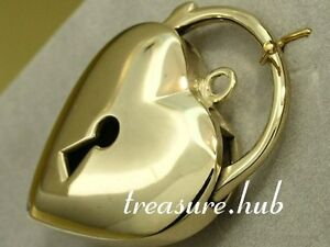 HUGE Genuine 9ct 9K HEAVY Solid Gold Heart Padlock Clasp / Pendant with Key-hole