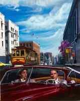 SAN FRANCISCO Cable Car Frank Sinatra Martin Grant Midcentury HUGE CANVAS Vancas