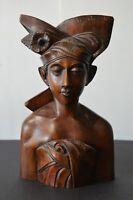 Vintage MCM Hand Carved Wooden Bust Bali Indonesia Heavy Male Warrior Teak