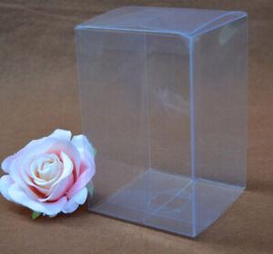 50 x 15cm cube PVC Plastic Clear box bomboniere retail product gift cake bun cap