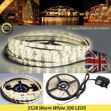 Full Kit 5M 3528 300LED Strip Light Warm White Waterproof & Adhesive X'mas Decor