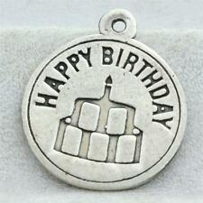 Vintage Sterling Silver Happy Birthday Charm for Bracelet or Pendant 1g W-054