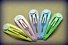 20 x Pastel Hair Snap Clips w Glue Pad 50mm - yellow, pink, purple, blue & green