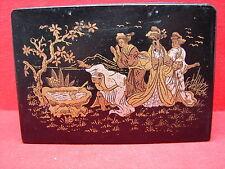 Belle ancienne boite en carton bouilli, Napoléon III décor japon