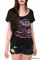 New Disney Alice Wonderland Cheshire Tee T-Shirt Dolman Black Women's Small
