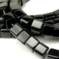 50 Onyx Schwarz Perlen Poliert Halbedelstein 6mm Würfel Schmucksteine G90