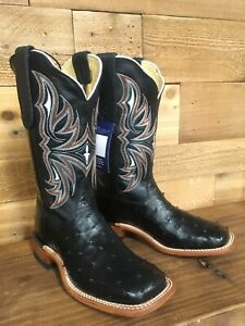 TONY LAMA WOMEN'S BLACK FULL QUILL OSTRICH BOOTS,SQUARE TOE SPECIAL EDITION