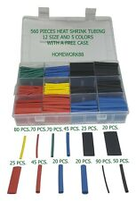 560 Pcs 21 Heat Shrink Tubing Tube Sleeving Wrap Cable Wire 5 Colors 12 Sizes