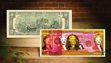 MARILYN MONROE YELLOW Rency / Banksy Pop Art on Real $2 Bill Artist Signed #/70