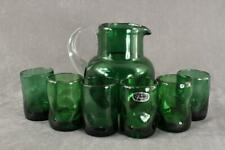 Vintage Studio Art Hand Crafted BISCHOFF Green Pinch Pitcher & 6 Juice Glasses