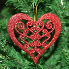 Pack of 2 Christmas Tree Ornate Glitter Heart Hanging Pendant Decorations