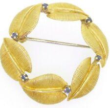 Tiffany & Co. heavy 18K gold 0.30CT Blue sapphire leaf wreath brooch