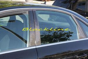 For 09~15 Audi B8 A4 S4 Sedan Carbon Fiber Door Trim Pillar Posts Panel 6pcs