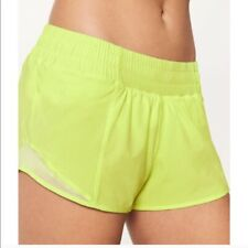 "Lululemon Hotty Hot LR Short 2.5"" Size 12 Lined Neon Yellow FLFH NEW WITH TAGS!"