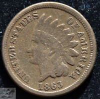 1863 Copper Nickel Indian Head Penny, Cent, Fine Condition, Free Shipping, C5144