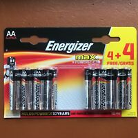 8 NEW Energizer AA MAX Alkaline Powerseal Batteries LR6 MX1500 MN Longest Expiry