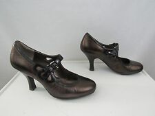 Sofft 1061755 Brown Metallic Leather Mary Janes Pumps Size 10 M