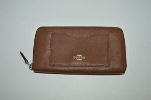 Coach British Tan Cross-grain Leather Zip Around Wallet