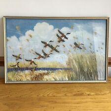 "Vintage Large Peter Scott Print Taking To Wing Framed Glazed 22.5 x 14.5"" Nature"