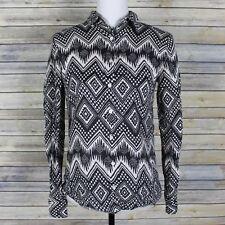 J Crew Linen Boy Shirt in Diamond Ikat Black White Button Up Pocket A2835 Size 2